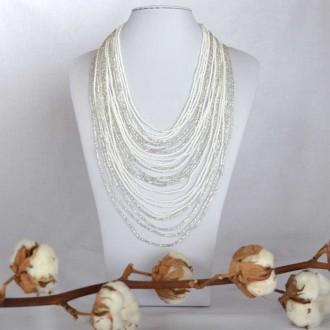 Multistrand Beaded Statement Necklace-White-CHINGO