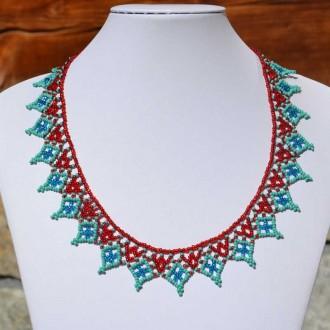 Collier pico rouge et turquoise