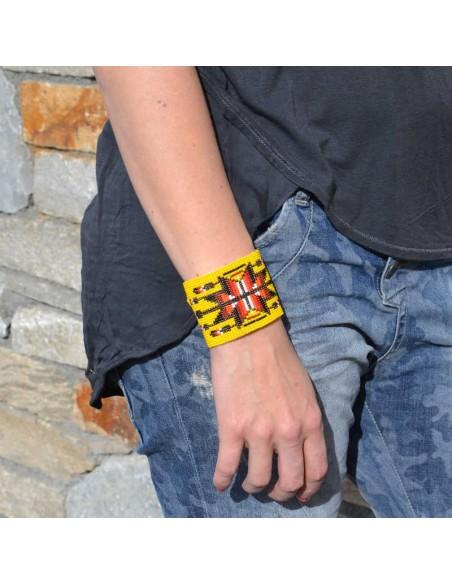 bracelet-ethnique-perles-manchette-large