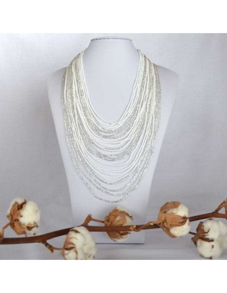 CHINGO White Ethnic Glass beads Necklace