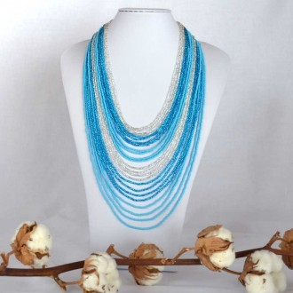 CHINGO Blue Ethnic Glass beads Necklace