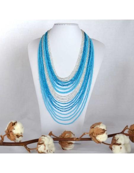 CHINGO Blue Ethnic Glass beads Necklace
