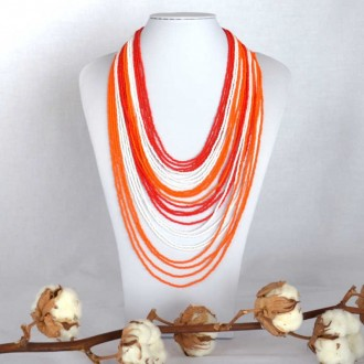 CHINGO Orange Ethnic Glass beads Necklace