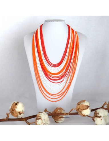 Collier Chingo rouge orange