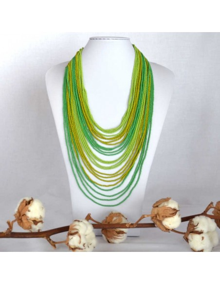 CHINGO Green Ethnic Glass beads Necklace