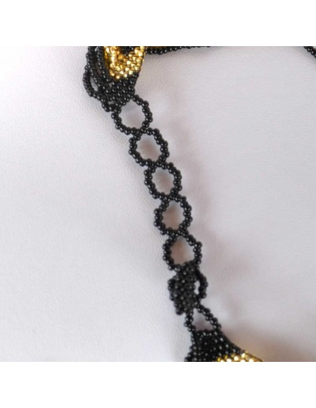 CHINGO Black Gold Ethnic Glass beads Necklace