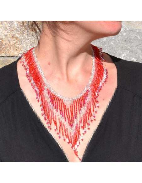 TACANA Red Ethnic beads Necklace