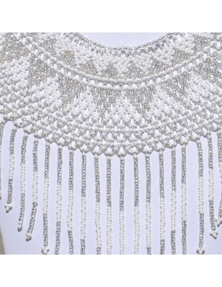 IPALA White Ethnic Seed beads Necklace