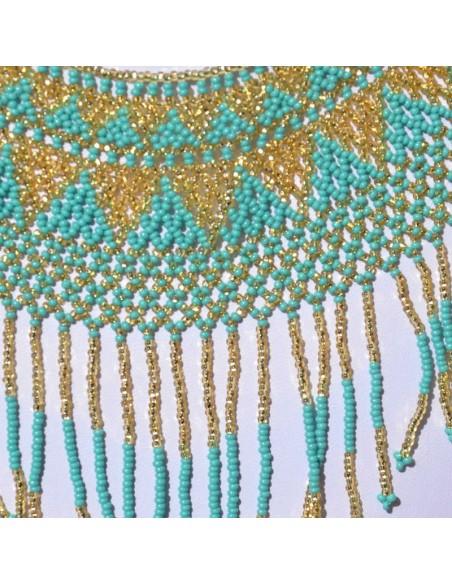 Collier ipala turquoise et doré