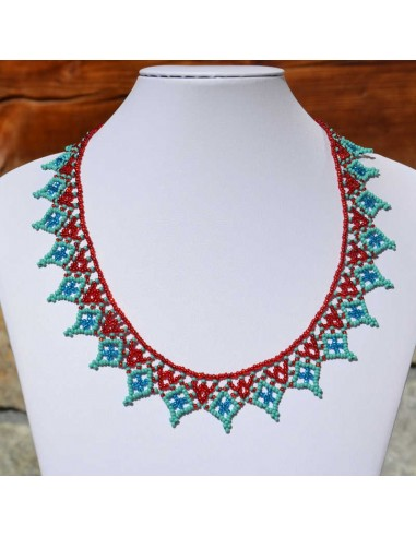 Collier pico rouge et turquoise