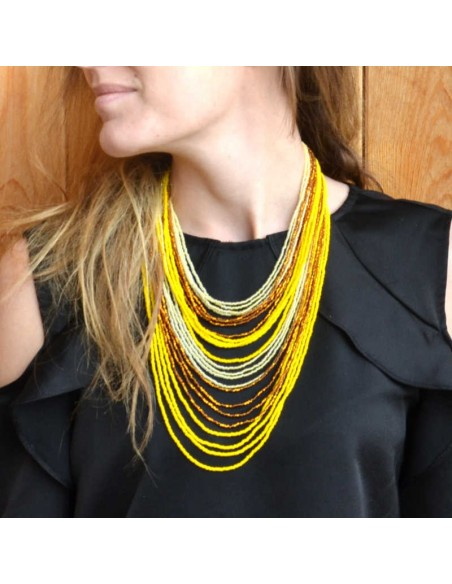 CHINGO Yellow Ethnic Glass beads Necklace