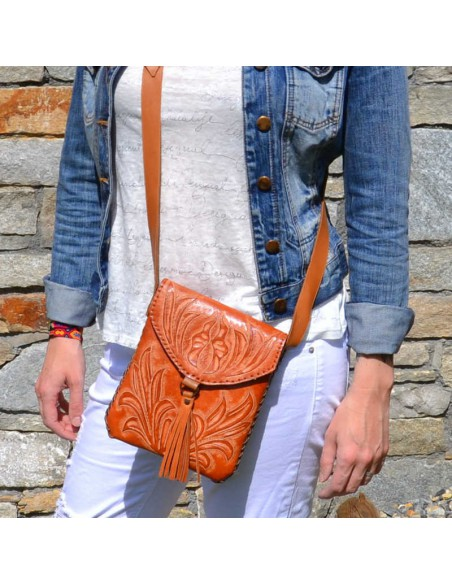 Camel CARMELITA Small Boho Tooled Leather Slingbag