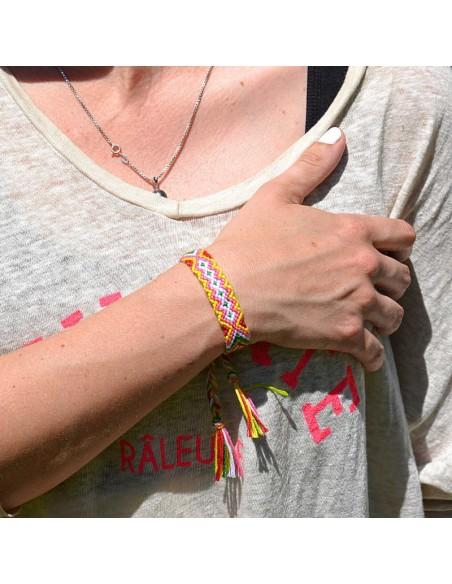 bracelet-bresilien-macrame-etroit-Lien-Serrage-Jaune-Rose-Rouge