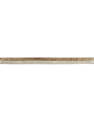 Strap Sequined Gold and Suede White and Gold