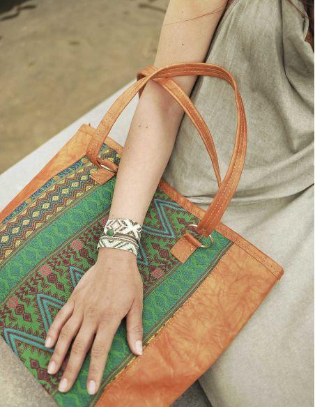 Ethnic Greeen Orange Handbag TIKAL