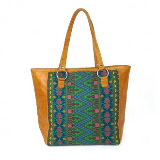 Ethnic Greeen Orange Handbag TIKAL