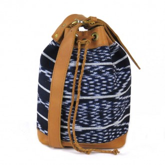 Leather Textile Sling Bag Blue HUEHUE