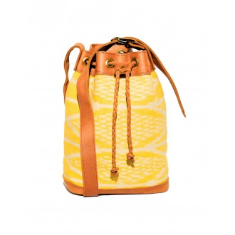 Leather Textile Sling Bag Yellow HUEHUE