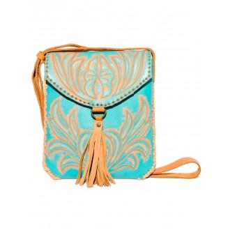 Turquoise CARMELITA Small Boho Tooled Leather Slingbag