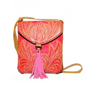 Pink CARMELITA Small Boho Tooled Leather Slingbag