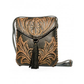 Black CARMELITA Small Boho Tooled Leather Slingbag