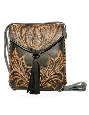 Black CARMELITA Small Boho Tooled Leather Slingbag