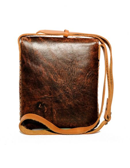 Brown CARMELITA Small Boho Tooled Leather Slingbag