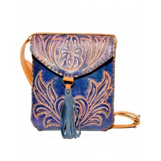 Navy Blue CARMELITA Small Boho Tooled Leather Slingbag