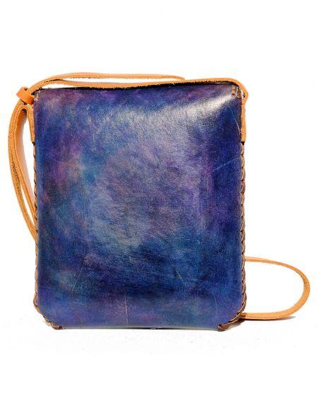 Navy Blue CARMELITA Small Boho Tooled Leather Slingbag