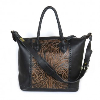 Black COBAN M Boho Tooled Leather Slingbag