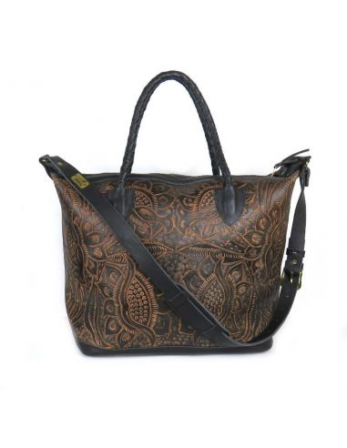 Black LIVINGSTON M Boho Tooled Leather Slingbag