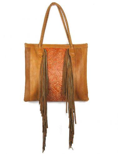 JALAPA-CAMEL-Tote-Bag-Ethnique-Boho-Franges-Cuir-Repoussé-Haut-de-gamme