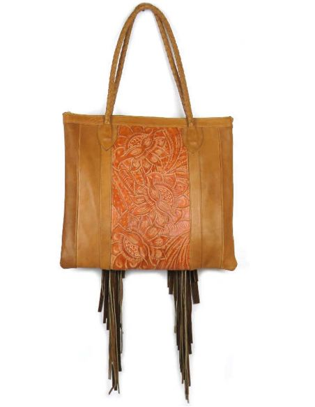 Ethnic Tooled Leather Tote Bag Brown JALAPA