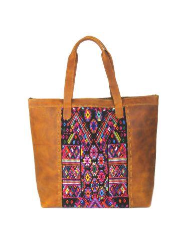 BENITO-Tote-Bag-Ethnique-Boho-Cuir-Marron-Tissu-Unique-Huipil-Haut-de-gamme