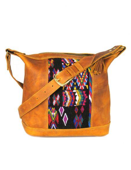Rosa, mini-day bag, bandoulière, cuir, huipil