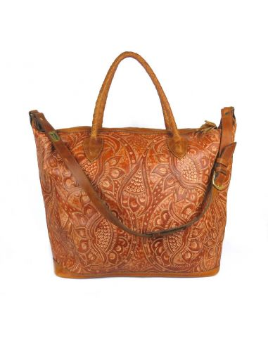 Camel LIVINGSTON XL Ethnic Tooled Leather Slingbag
