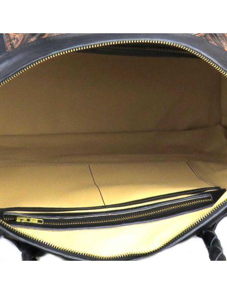 Black LIVINGSTON XL Ethnic Tooled Leather Slingbag