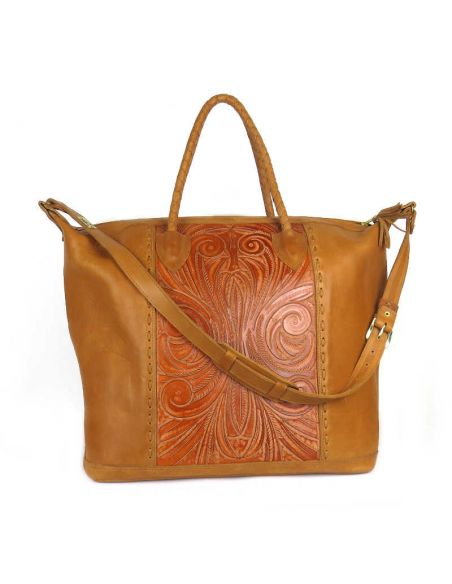 Black COBAN XL Ethnic Tooled Leather Sling Bag