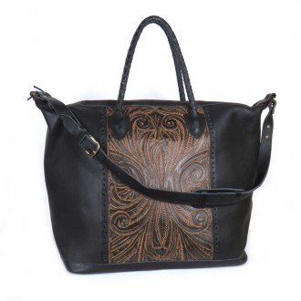 Black COBAN XL Ethnic Tooled Leather Sling Bag