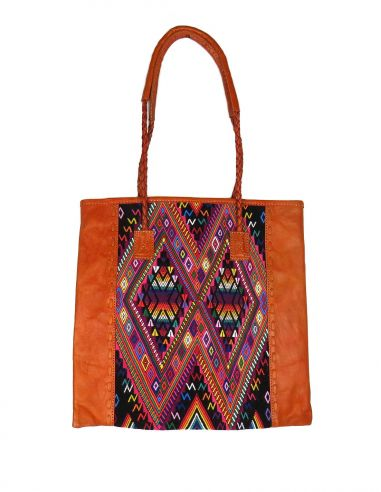 Ethnic Tote Bag Orange QUETZAL