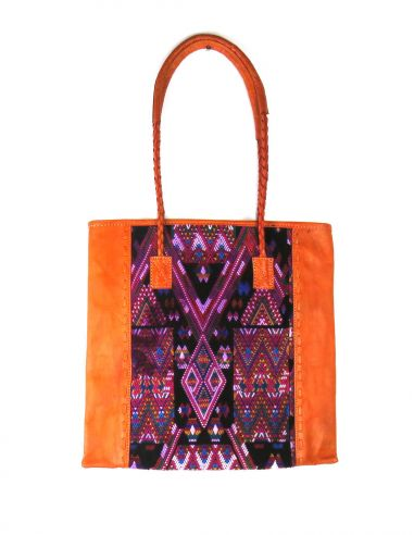 Ethnic Tote Bag Orange QUETZAL