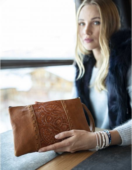 MARIA Ethnic Camel Leather Tooled Clutch