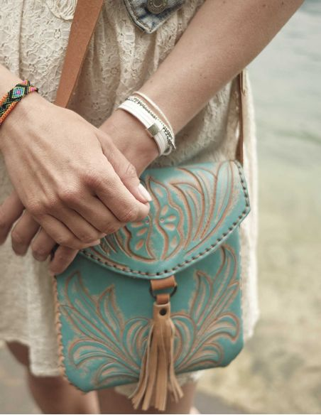 Turquoise CARMELITA Small Boho Tooled Leather Slingbag