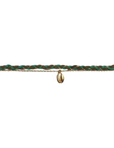 suédine tressée verte chaîne forçat et cauri argentés