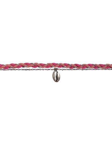 suédine tressée rose chaîne forçat et cauri argentés