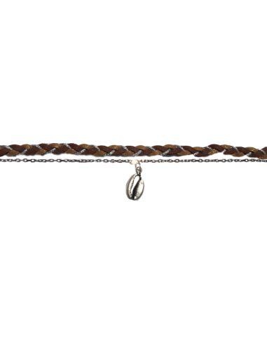 suédine tressée marron chaîne forçat et cauri argentés