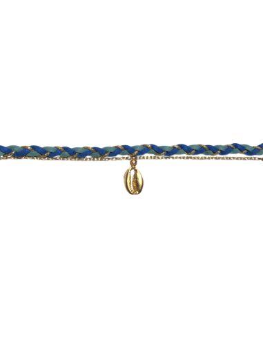 suédine tressée bleue chaîne forçat et cauri argentés