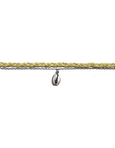 suédine tressée jaune chaîne forçat et cauri argentés