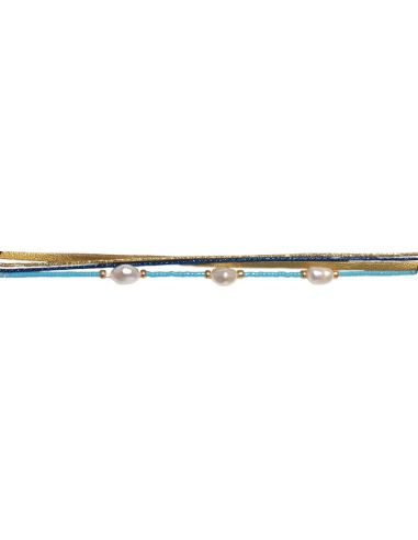 Perles baroques, miyuki et cordon mokuba bleus dorés