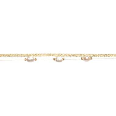 Perles baroques, miyuki et cordon mokuba blancs dorés